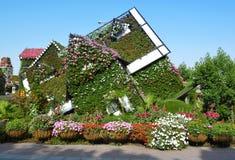 落的房子 迪拜花园 迪拜旅游业 免版税库存照片