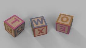 落的玩具砖做措辞:结束,并且,哇,一个人,两,坏,全部,购买,说 向量例证