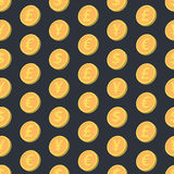 落的硬币无缝的样式 图库摄影