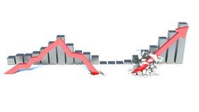 落的红色箭头和举 免版税库存图片