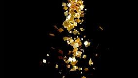 落的金子闪烁箔五彩纸屑,在黑背景 库存图片