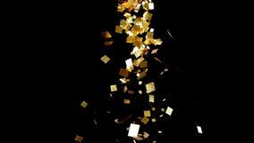 落的金子闪烁箔五彩纸屑,在黑背景 免版税图库摄影