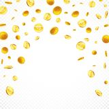 落的金币用不同的位置例证,被隔绝的背景 免版税库存照片