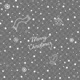 落的雪的无缝的样式与字法和冬天元素的在透明背景 向量例证