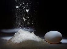 落的面粉和鸡鸡蛋在黑暗的背景 图库摄影