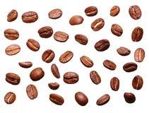落的黑咖啡粒,豆 图库摄影