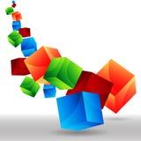 落的3D多维数据集 免版税库存图片