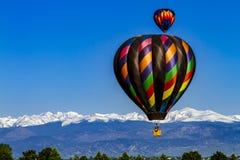 落矶山脉热空气气球节日 库存照片