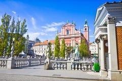 著名'三倍桥梁'在卢布尔雅尼察河河卢布尔雅那市中心-斯洛文尼亚-欧洲-人们不是可认识的 免版税库存照片