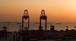 著名上海洋山货物口岸 库存图片