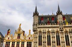 城镇正方形,布鲁日,比利时 图库摄影