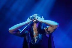 著名乌克兰歌手Jamala给了介绍她新的册页Podykh呼吸的一个音乐会 库存图片