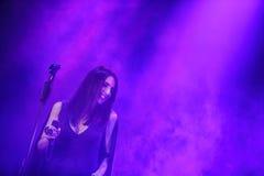 著名乌克兰歌手Jamala给了介绍她新的册页Podykh (呼吸)的一个音乐会 免版税库存图片