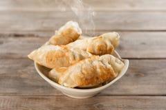 著名亚洲开胃菜平底锅油煎的饺子 库存图片