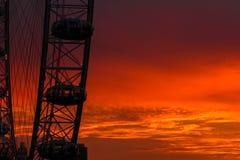 著名伦敦弗累斯大转轮在日落时间的市中心 免版税库存图片