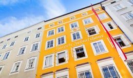 著名作曲家沃尔夫冈・阿马德乌・莫扎特出生地在萨尔茨堡,奥地利 免版税库存照片