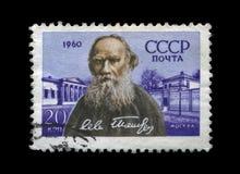著名俄国作家列弗Tolstoy,大约1960年, 库存图片
