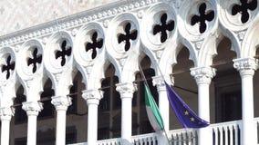 著名共和国总督` s宫殿的细节在威尼斯,其中一个城市的主要地标 图库摄影
