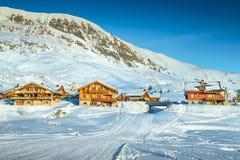 著名冬天滑雪胜地在法国阿尔卑斯,欧洲 库存照片