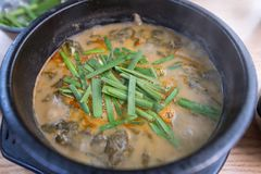 著名冬天韩国食物泥鳅汤 免版税库存照片