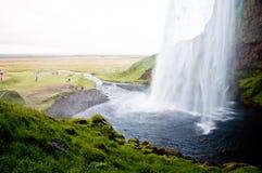 著名冰岛seljalandsfoss瀑布 库存图片