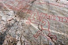 著名北欧海盗岩石雕刻 免版税库存照片