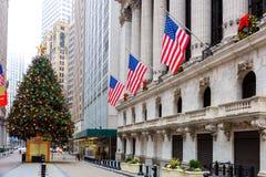 著名华尔街在纽约, NYC,美国 免版税库存图片