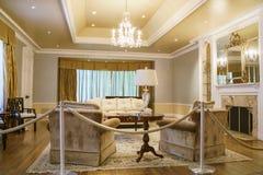 著名博迪议院的内部看法在Descanso庭院里 免版税库存照片