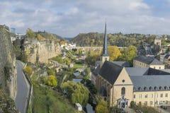 著名卢森堡城市分界线细节在冷的晴天在11月 免版税库存照片