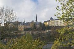 著名卢森堡城市分界线细节在11月 免版税库存图片