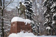 著名印地安政治和精神领袖圣雄甘地的纪念碑在莫斯科,俄罗斯 库存图片