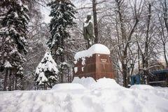 著名印地安政治和精神领袖圣雄甘地的纪念碑在莫斯科,俄罗斯 免版税库存照片