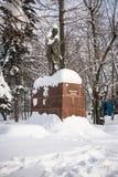 著名印地安政治和精神领袖圣雄甘地的纪念碑在莫斯科,俄罗斯 图库摄影