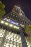 著名台北101摩天大楼在晚上 免版税库存照片
