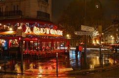著名咖啡馆La为圣诞节装饰的Rotonde在晚上,巴黎,法国 图库摄影