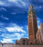 著名哈桑二世清真寺在卡萨布兰卡,摩洛哥 库存图片