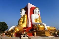著名四Buddhas Kyaikpun塔, Bago,缅甸,亚洲 库存照片