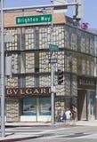 著名圈地驱动的Bulgari商店 库存图片