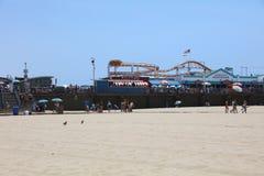 著名圣塔蒙尼卡码头在加利福尼亚 美国 库存照片