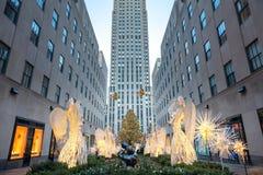 著名圣诞节装饰-洛克菲勒中心, NYC 免版税库存照片