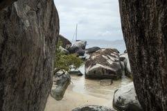 著名在维尔京Gorda,英属维尔京群岛的浴 库存照片