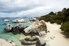 著名在维尔京Gorda,英属维尔京群岛的浴 免版税库存图片