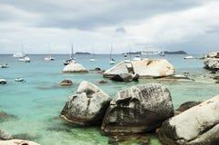 著名在维尔京Gorda,英属维尔京群岛的浴 免版税图库摄影