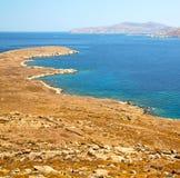 著名在delos希腊historycal上城和老废墟s 免版税库存图片