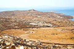 著名在delos希腊historycal上城和老废墟s 库存图片