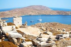著名在delos希腊historycal上城和老废墟s 图库摄影