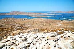 著名在delos希腊historycal上城和 库存照片