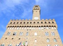 著名地标在佛罗伦萨或佛罗伦萨市意大利的Palazzo Vecchio 库存照片
