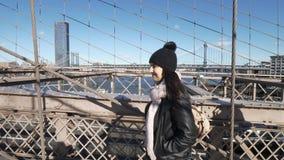 著名地标在纽约美妙的布鲁克林大桥 股票视频