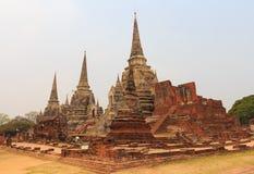 著名寺庙区域Wat Phra Si Sanphet, 免版税库存照片